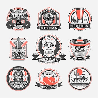 Ensemble d'étiquettes vintage mexicain isolé