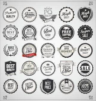 Ensemble d'étiquettes vintage rétro et insignes