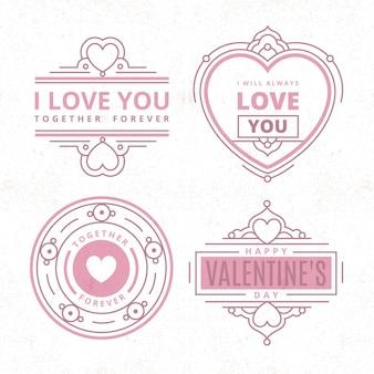 Ensemble d'étiquettes vintage de la saint-valentin