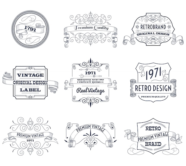 Ensemble d'étiquettes vintage