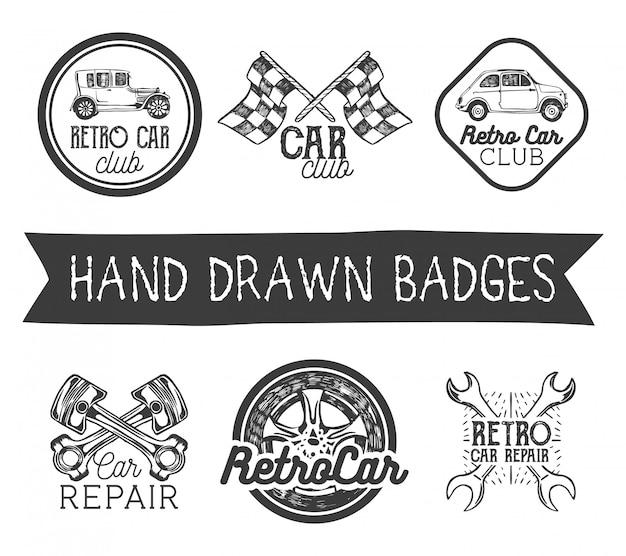 Ensemble d'étiquettes de voiture rétro dessinés à la main dans un style vintage