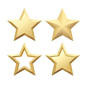 Ensemble d'étoile dorée métallique réaliste isolé sur fond blanc. illustration