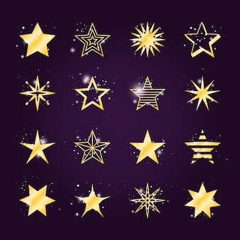 Ensemble d'étoiles astrales. icônes étoiles dorées scintillantes et légères