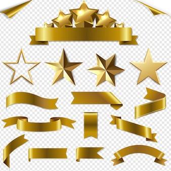 Ensemble d'étoiles et de coins de rubans dorés