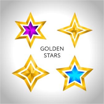 Ensemble d'étoiles colorées d'or simples