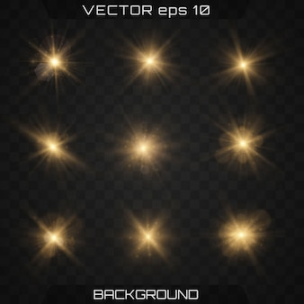 Ensemble d'étoiles dorées et brillantes avec effet brillant