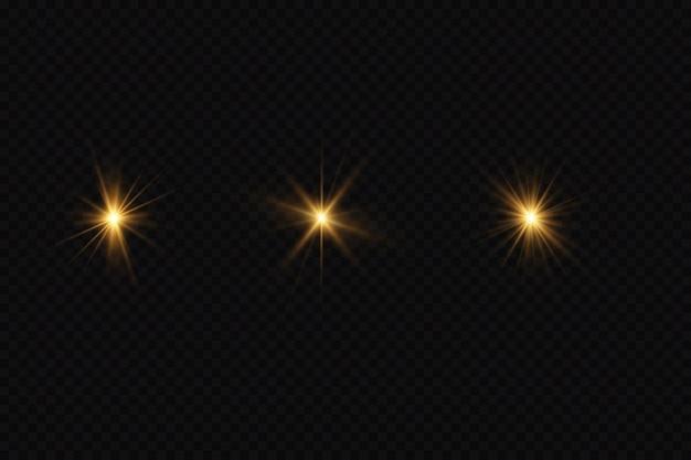 Ensemble d & # 39; étoiles dorées sur fond noir