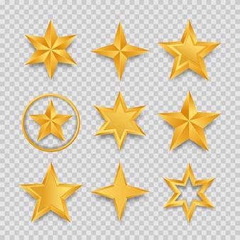 Ensemble d'étoiles dorées réalistes