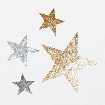 Ensemble d'étoiles festives scintillantes de luxe