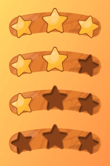 Ensemble d'étoiles jaunes dorées sur une planche de bois avec texture bois