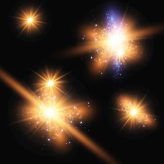 Ensemble d'étoiles lumineuses brillantes avec des étincelles
