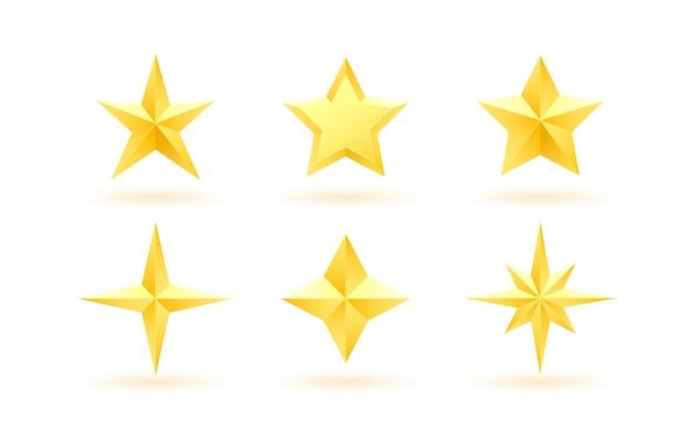 Ensemble d'étoiles métalliques réalistes dorées sur fond blanc. illustration vectorielle.