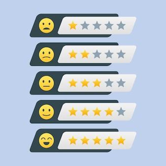 Ensemble d'étoiles de notation avec satisfaction émoticône