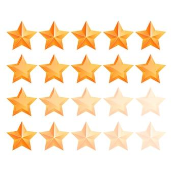 Ensemble d'étoiles d'or 3d réaliste. gagnant du prix. bon travail. la meilleure récompense. étoile de cuivre en vrac. étoile simple. le prix du meilleur choix. classe premium.