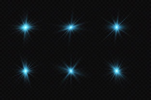 Ensemble d & # 39; étoiles de particules brillantes bleues