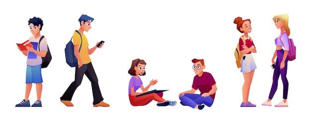 Ensemble d'étudiants de dessin animé personnes université homme femme