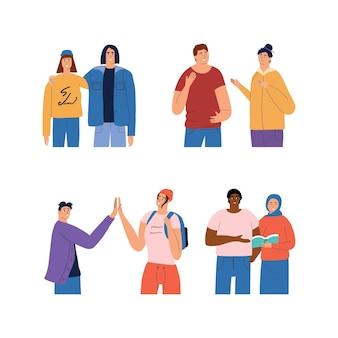 Ensemble d'étudiants de différentes races et nationalités relations amicales entre les jeunes