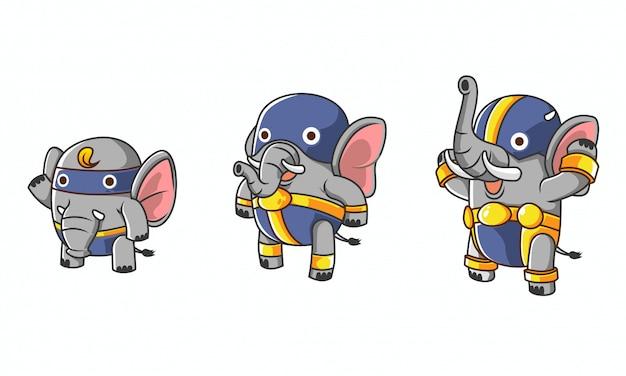 Ensemble d'évolution du personnage héros d'éléphant isométrique