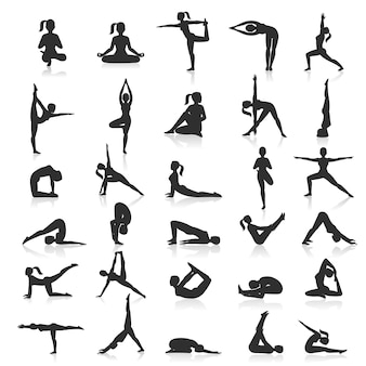 Ensemble d'exercices de postures de yoga.