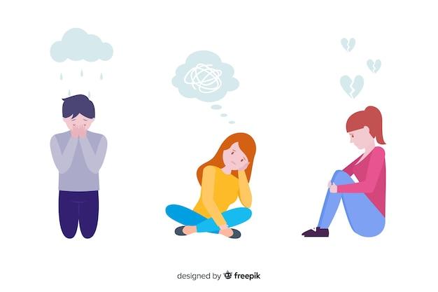 Ensemble d'expression du visage de différentes émotions