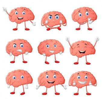Ensemble d'expressions différentes de personnage de dessin animé de cerveau. illustration vectorielle