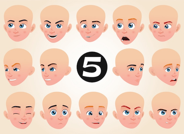 Ensemble d'expressions du visage pour un petit garçon