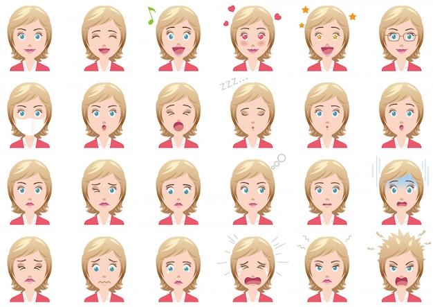 Ensemble d'expressions faciales diverses de femme d'affaires