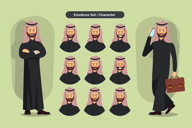 Ensemble d'expressions faciales de l'homme musulman d'affaires différentes.