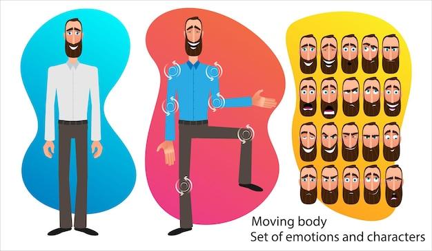 Ensemble d'expressions de personnage de dessin animé. visage émotif. variantes d'émotions. illustration vectorielle de style plat isolée sur fond abstrait. l'homme d'affaires présente une idée. corps en mouvement pour l'animation.