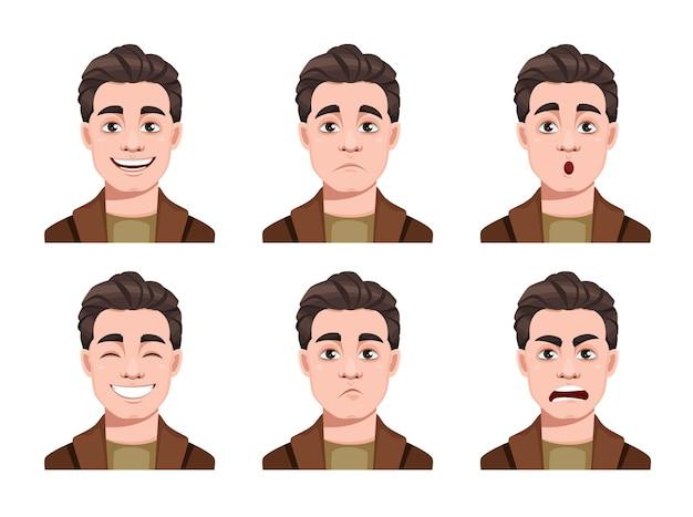 Ensemble d'expressions de visage de l'homme