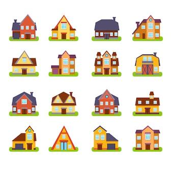 Ensemble d'extérieur de maisons immobilières de banlieue