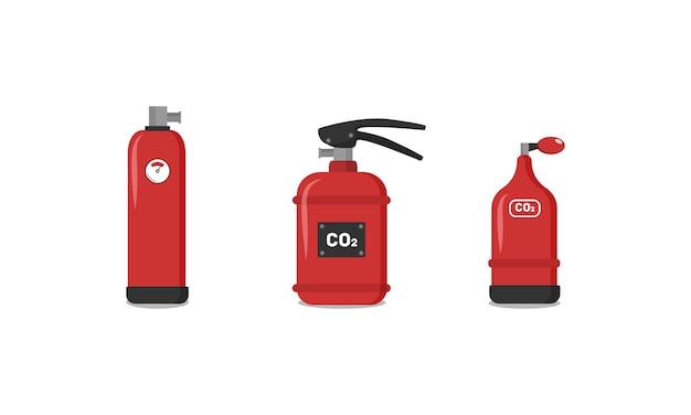 Ensemble d'extincteurs rouges, icônes - symbole de sécurité - équipement de protection - signe d'urgence. extincteur de divers types pour assurer la sécurité du bâtiment, ce qui protégerait les personnes.