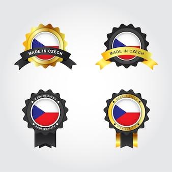 Ensemble fabriqué en étiquette d'insigne emblème de la république tchèque