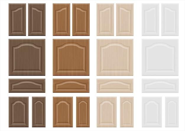 Ensemble de façades de meubles en bois textures