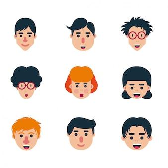 Ensemble de faces plates de caractère humain vector pack d'icônes de conception