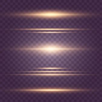 Ensemble de faisceaux laser jaunes, rayons lumineux horizontaux.