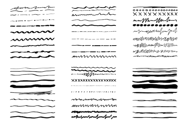 L'ensemble fait à la main met l'accent dans le style doodle avec des ornements de pinceau de lignes de soulignement