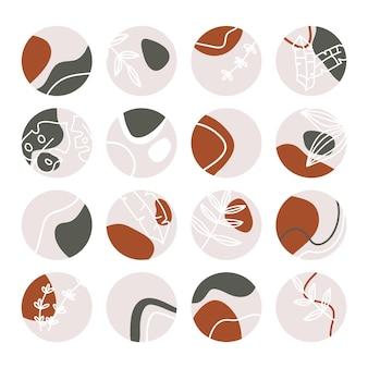Ensemble de faits saillants abstraits insta. collection d'icônes de médias sociaux avec des gouttes, des formes abstraites, des feuilles tropicales et des lignes.
