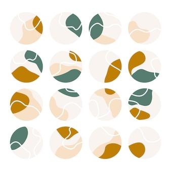 Ensemble de faits saillants abstraits insta. collection d'icônes de médias sociaux avec des gouttes, des formes abstraites et des lignes.