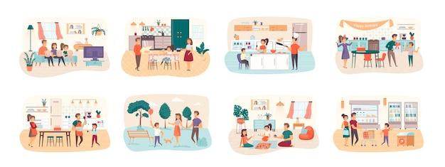 Ensemble familial de scènes avec situation de personnages plats