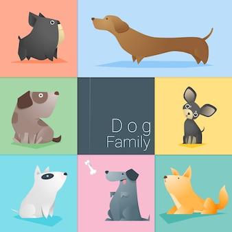 Ensemble de famille de chien