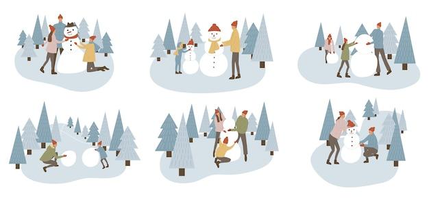 Ensemble de famille faisant ensemble bonhomme de neige