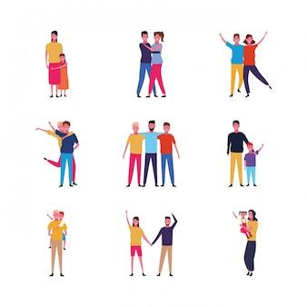 Ensemble de famille de gens de dessin animé et amis heureux