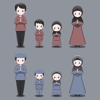 Ensemble de famille musulmane mignon
