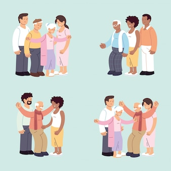 Ensemble de familles heureuses, petite-fille, petit-fils et grands-parents