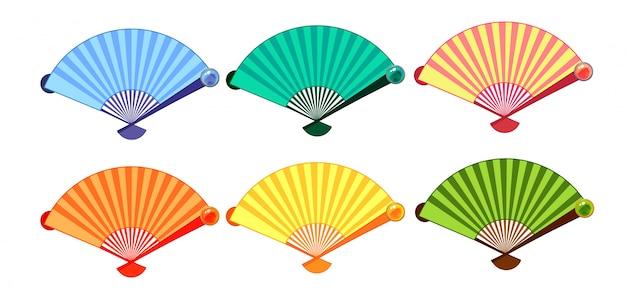 Ensemble de fans colorés chinois. isolé