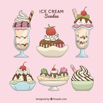 Ensemble fantastique de desserts d'été avec de la glace