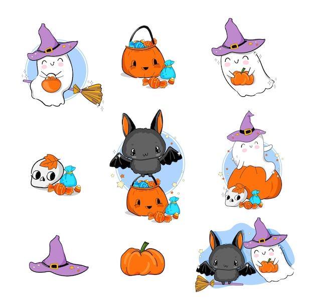 Ensemble de fantôme d'halloween illustration mignonne avec citrouille et chauve-souris