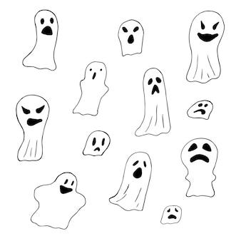 Ensemble de fantômes effrayants, dessin au trait. joyeux halloween. déguisement d'horreur. illustration vectorielle