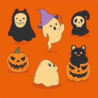Ensemble de fantômes halloween design dessiné à la main